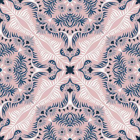 Bandana print. Womens shawl with floral pattern. Mediterranean wallpaper. Иллюстрация