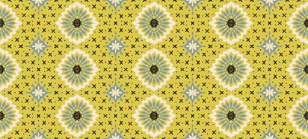 Talavera pattern. Azulejos portugal. Turkish ornament. Moroccan tile mosaic. Spanish porcelain. Ceramic tableware, folk print. Asian pottery. Ethnic background. Mediterranean wallpaper. Art Deco. Иллюстрация