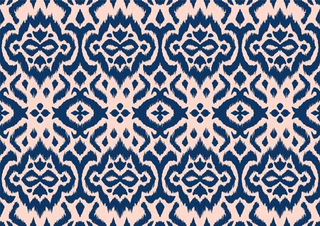 Lace border. Ikat seamless pattern. Vector tie dye shibori print with stripes and chevron. Иллюстрация