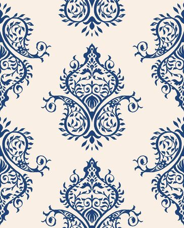 Oriental vector damask pattern. Talavera pottery. Azulejos portugal. Turkish ornament. Spanish porcelain. Ceramic tableware, folk print. Ethnic background. Mediterranean wallpaper.  Talavera pottery. Ilustração