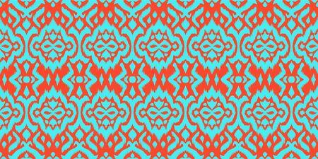 Lace border. Ikat seamless pattern. Vector tie dye shibori print with stripes and chevron. Illusztráció
