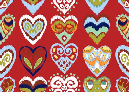 Valentines day. Seamless pattern with hearts. Ikat geometric folklore ornament. Oriental vector damask print. Ancient art of Arabesque. Tribal ethnic texture. Spanish motif on the carpet. Illusztráció