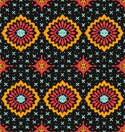 Talavera pattern. Azulejos portugal. Turkish ornament. Moroccan tile mosaic. Spanish porcelain. Ceramic tableware, folk print. Asian pottery. Ethnic background. Mediterranean wallpaper. Art Deco. Illusztráció