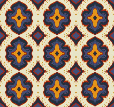 Ikat geometric folklore ornament with diamonds. Damask rug. Tribal ethnic vector texture. Persian geo print. Seamless pattern in Aztec style. Folk embroidery. Gypsy, Mexican, African print.