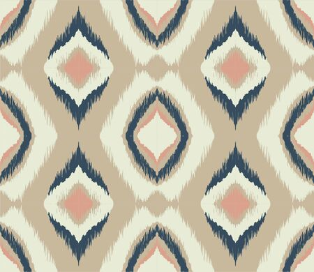 Ikat geometric folklore ornament with diamonds. Tribal ethnic vector texture. 스톡 콘텐츠 - 137747075