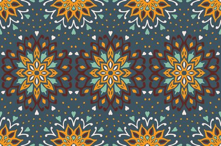 Seamless floral pattern. Stylized doodle flowers. Spanish ethnic embroidery. Folk ornament. Solar sign. Mediterranean print. Indian Oriental or Turkish textiles. Boho wallpaper. Hipster art. 스톡 콘텐츠 - 137747078