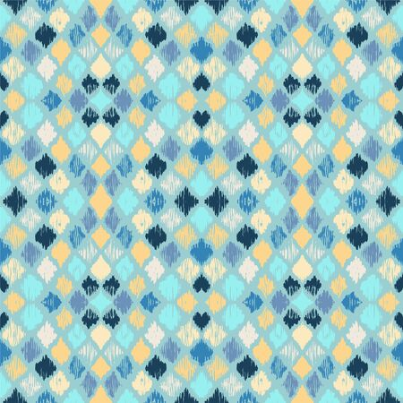 Ikat geometric folklore ornament with diamonds. Tribal ethnic vector texture. Seamless striped pattern in Aztec style. Folk embroidery. Indian, Scandinavian, Gypsy, Mexican, African rug. 스톡 콘텐츠 - 137747082