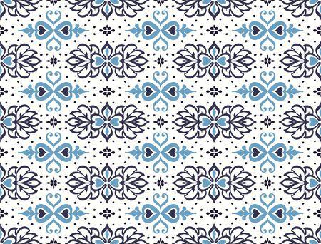 Talavera pattern. Azulejos portugal. Turkish ornament. Moroccan tile mosaic. Spanish porcelain. Ceramic tableware, folk print. Asian pottery. Ethnic background. Mediterranean wallpaper. Art Deco. 일러스트