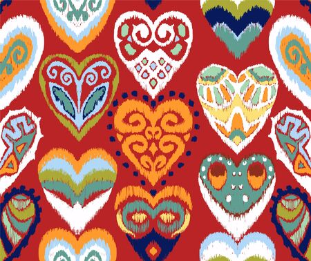 Valentines day. Seamless pattern with hearts. Ikat geometric folklore ornament. Oriental vector damask print. Ancient art of Arabesque. Tribal ethnic texture. Spanish motif on the carpet. 일러스트