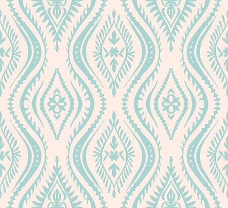 Geometric folklore ornament with waves. Oriental vector damask pattern. Ancient art of Arabesque. Tribal ethnic texture. Spanish motif on the carpet. Aztec style. Indian rug. Gypsy, Mexican embroidery 스톡 콘텐츠 - 137747087