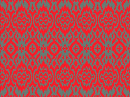 Lace border. Ikat seamless pattern. Vector tie dye shibori print with stripes and chevron. 일러스트