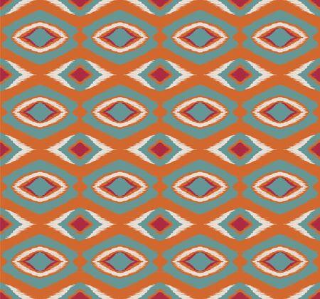 Ikat geometric folklore ornament with diamonds. Tribal ethnic vector texture.