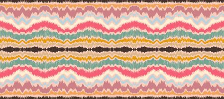 Ikat border. Geometric folk ornament. Ink on clothes. Tribal vector texture. Seamless striped pattern in Aztec style. Ethnic embroidery. Indian, Scandinavian, Gypsy, Mexican, African rug. 스톡 콘텐츠 - 137747390