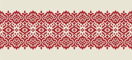 Lace border. Ikat seamless pattern. Vector tie dye shibori print with stripes and chevron. 스톡 콘텐츠 - 137747397
