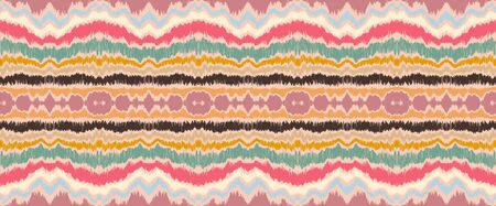 Ikat border. Geometric folk ornament. Ink on clothes. Tribal vector texture. Seamless striped pattern in Aztec style. Ethnic embroidery. Indian, Scandinavian, Gypsy, Mexican, African rug. 일러스트