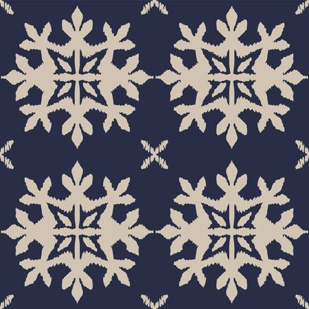Christmas drawing with snowflakes. The Nordic style. Folk print with flakes. Scandinavian, Portuguese ornament. Spanish porcelain. Oriental damask. Ethnic motif. Ikat geometric folklore background. 스톡 콘텐츠 - 137747419