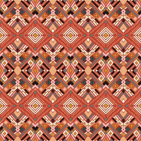 Tribal vector ornament. Seamless African pattern. Ethnic carpet with chevrons. Aztec style. Geometric mosaic on the tile, majolica. Ancient interior. Modern rug. Geo print on textile. Kente Cloth. 스톡 콘텐츠 - 137747425