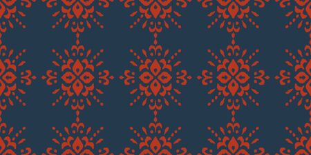 Christmas drawing with snowflakes. The Nordic style. Folk print with flakes. Scandinavian, Portuguese ornament. Spanish porcelain. Oriental damask. Ethnic motif. Ikat geometric folklore background. 스톡 콘텐츠 - 137747426