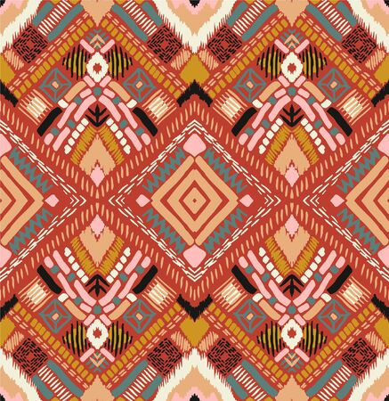 Tribal vector ornament. Seamless African pattern. Ethnic carpet with chevrons. Aztec style. Geometric mosaic on the tile, majolica. Ancient interior. Modern rug. Geo print on textile. Kente Cloth. 스톡 콘텐츠 - 137747428