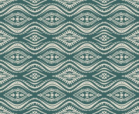 Geometric folklore ornament with waves. Oriental vector damask pattern. Ancient art of Arabesque. Tribal ethnic texture. Spanish motif on the carpet. Aztec style. Indian rug. Gypsy, Mexican embroidery 스톡 콘텐츠 - 137747467