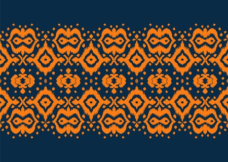 Lace border. Ikat seamless pattern. Vector tie dye shibori print with stripes and chevron. Ink textured japanese background. Ethnic fabric. Bohemian fashion. African creative. Damask rug. 스톡 콘텐츠 - 137747472