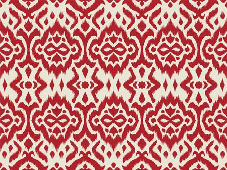 Lace border. Ikat seamless pattern. Vector tie dye shibori print with stripes and chevron. 스톡 콘텐츠 - 137747476