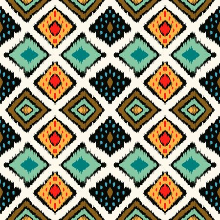 Ikat geometric folklore ornament with diamonds. Tribal ethnic vector texture. Seamless striped pattern in Aztec style. Folk embroidery. Indian, Scandinavian, Gypsy, Mexican, African rug. 스톡 콘텐츠 - 137747479
