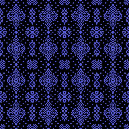 Ikat geometric folklore ornament. Oriental vector damask pattern. Ancient art of Arabesque. Tribal ethnic texture. Spanish motif on the carpet. Aztec style. Indian rug. Gypsy, Mexican embroidery. 스톡 콘텐츠 - 137747541