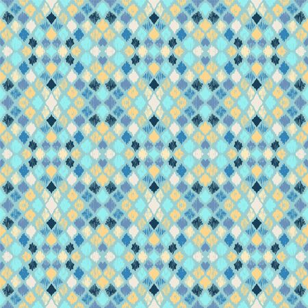 Ikat geometric folklore ornament with diamonds. Tribal ethnic vector texture. Seamless striped pattern in Aztec style. Folk embroidery. Indian, Scandinavian, Gypsy, Mexican, African rug. 스톡 콘텐츠 - 137747546