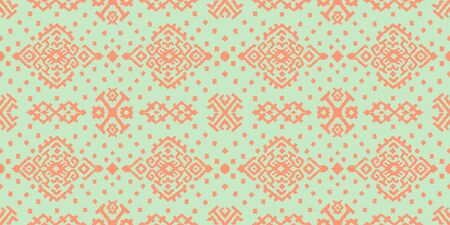 Ikat geometric folklore ornament. Oriental vector damask pattern. Ancient art of Arabesque. Tribal ethnic texture. Spanish motif on the carpet. Aztec style. Indian rug. Gypsy, Mexican embroidery. Ilustracja