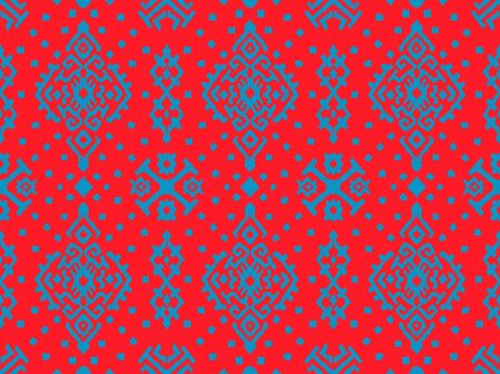 Ikat geometric folklore ornament. Oriental damask pattern. Ancient art of Arabesque. Tribal ethnic texture. Spanish motif on the carpet. Aztec style. Indian rug. Gypsy, Mexican embroidery.