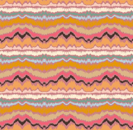 Ikat border. Geometric folk ornament. Ink on clothes. Tribal vector texture. Seamless striped pattern in Aztec style. Ethnic embroidery. Indian, Scandinavian, Gypsy, Mexican, African rug. Иллюстрация