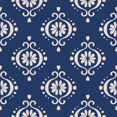 Ikat geometric folklore ornament. Oriental vector damask pattern. Ancient art of Arabesque. Tribal ethnic texture. Spanish motif on the carpet. Aztec style. Indian rug. Gypsy, Mexican embroidery.O Иллюстрация