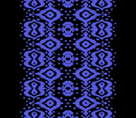 Lace border. Ikat seamless pattern. Vector tie dye shibori print with stripes and chevron. Ink textured japanese background. Ethnic fabric. Bohemian fashion. African creative. Damask rug. Banque d'images - 138378404