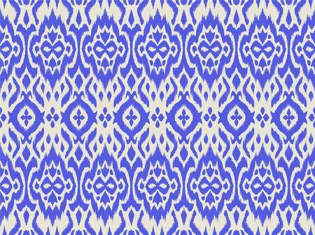 Lace border. Ikat seamless pattern. Vector tie dye shibori print with stripes and chevron.