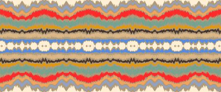 Ikat border. Geometric folk ornament. Ink on clothes. Tribal vector texture. Seamless striped pattern in Aztec style. Ethnic embroidery. Indian, Scandinavian, Gypsy, Mexican, African rug. Ilustrace