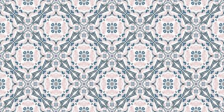 Bandana print. Women's shawl with floral pattern. Mediterranean wallpaper. 矢量图像