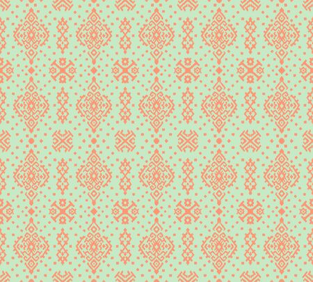 Ikat geometric folklore ornament. Oriental vector damask pattern. Ancient art of Arabesque. Tribal ethnic texture. Spanish motif on the carpet. Aztec style. Indian rug. Gypsy, Mexican embroidery. Ilustração