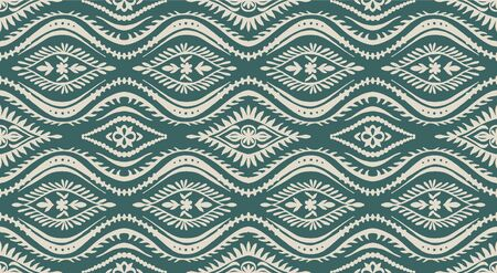 Geometric folklore ornament with waves. Oriental vector damask pattern. Ancient art of Arabesque. Tribal ethnic texture. Spanish motif on the carpet. Aztec style. Indian rug. Gypsy, Mexican embroidery