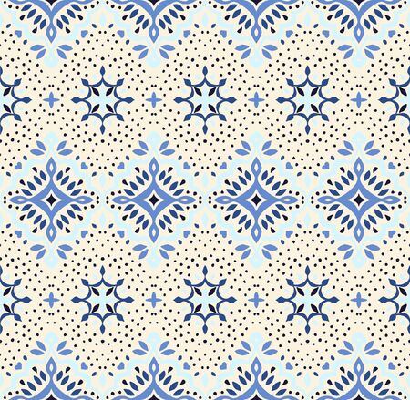 Oriental vector damask pattern. Talavera pottery. Azulejos portugal. Turkish ornament. Spanish porcelain. Ceramic tableware, folk print. Ethnic background. Mediterranean wallpaper.  Talavera pottery. 일러스트