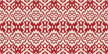 Lace border. Ikat seamless pattern. Vector tie dye shibori print with stripes and chevron. 일러스트