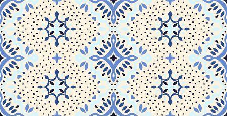 Oriental vector damask pattern. Talavera pottery. Azulejos portugal.