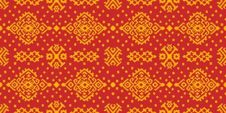 Ikat geometric folklore ornament. Oriental vector damask pattern. Ancient art of Arabesque. Tribal ethnic texture. Spanish motif on the carpet. Vector Illustration