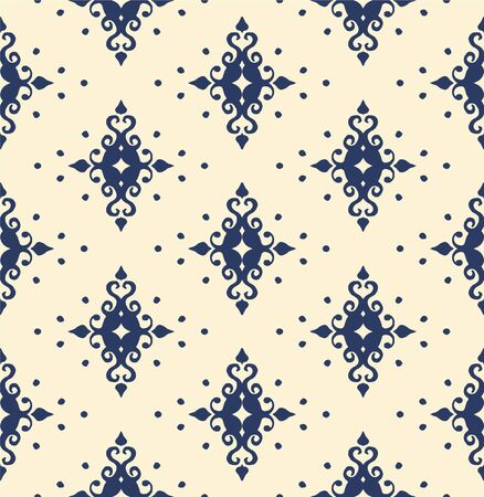 Oriental vector damask pattern. Talavera pottery. Azulejos portugal. Turkish ornament. Spanish porcelain. Ceramic tableware, folk print. Ethnic background. Mediterranean wallpaper. Talavera pottery.