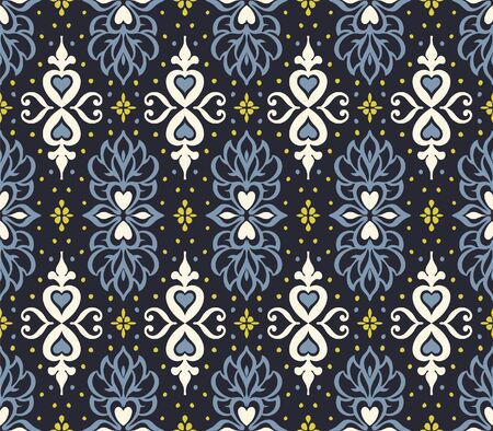 Talavera pattern. Azulejos portugal. Turkish ornament. Moroccan tile mosaic. Spanish porcelain. Ceramic tableware, folk print. Asian pottery. Ethnic background. Mediterranean wallpaper. Art Deco. Illustration