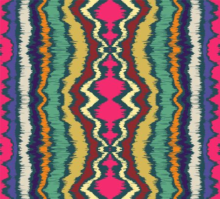 Ikat border. Geometric folk ornament. Ink on clothes. Tribal vector texture. Seamless striped pattern in Aztec style. Ethnic embroidery. Indian, Scandinavian, Gypsy, Mexican, African rug. Illustration