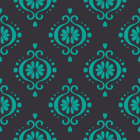 Ikat geometric folklore ornament. Oriental vector damask pattern. Ancient art of Arabesque. Tribal ethnic texture. Spanish motif on the carpet. Aztec style. Indian rug. Gypsy, Mexican embroidery.O Ilustração