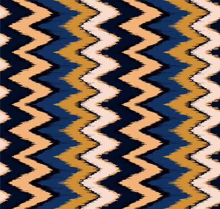 Ikat border. Geometric folk ornament. Ink on clothes. Tribal vector texture. Seamless striped pattern in Aztec style. Ethnic embroidery. Indian, Scandinavian, Gypsy, Mexican, African rug. Ilustração