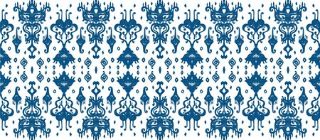 Ikat geometric folklore ornament. Oriental vector damask pattern. Ancient art of Arabesque. Tribal ethnic texture. Spanish motif on the carpet. Aztec style. Indian rug. Gypsy, Mexican embroidery. Foto de archivo - 148805381
