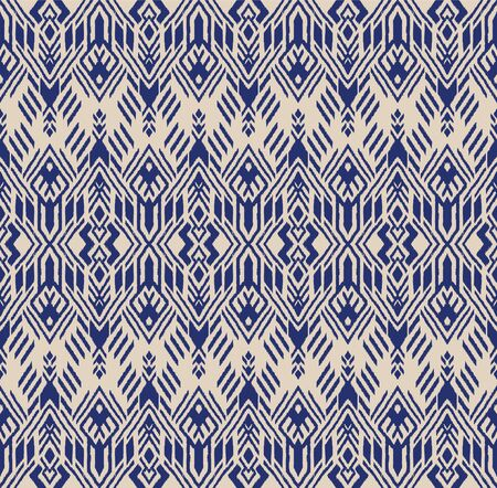 Ikat geometric folklore ornament. Oriental vector damask pattern. Ancient art of Arabesque. Tribal ethnic texture. Spanish motif on the carpet. Aztec style. Indian rug. Gypsy, Mexican embroidery. Foto de archivo - 148954161